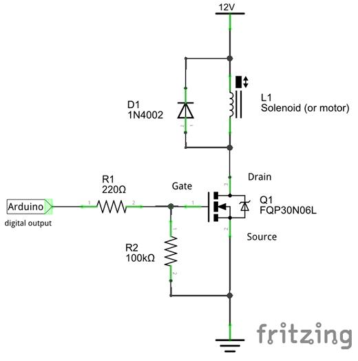 arduino n mosfet switch and solenoid rh forum arduino cc