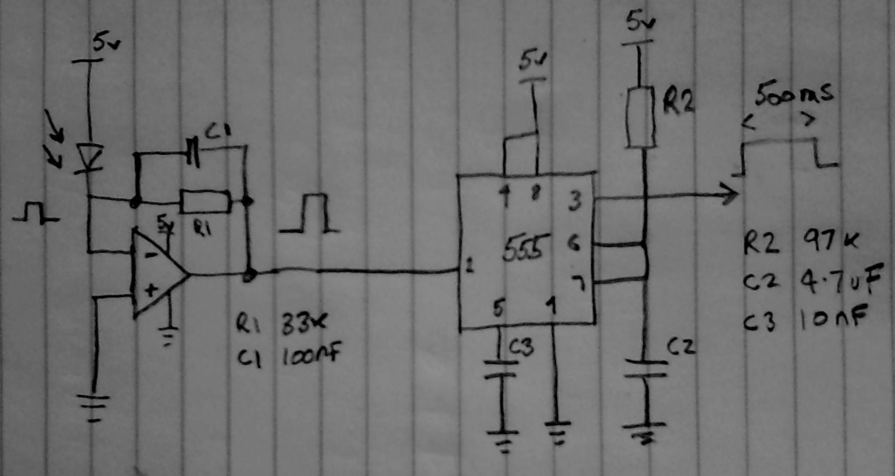 Example Schematic For Amplifying A Photodiode Using An Op Amp