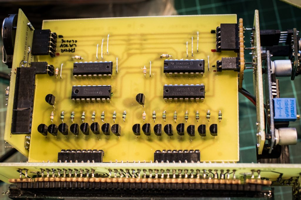 Two of the four drivers, with, from the top, the Registers, Darlington Arrays, and PNP transistors