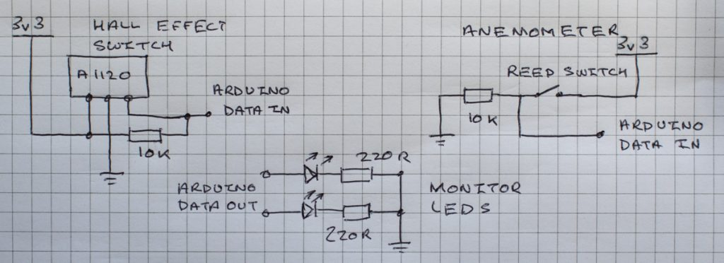 Circuitry for the Hall Effect Switch, Anemometer and monitor LED's